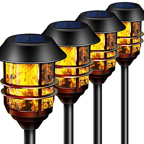 """55"""" Tall Solar Torches Lights 4 Pack with Flicking Flame 100% Metal LED Solar Light Outdoor Dancing Stainless Steel Walkway Lighting for Garden Patio Yard Decor Waterproof Pool Path Effect Light"""