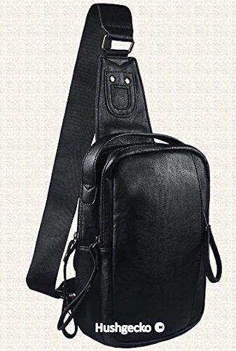 HushGecko Casual Leather Unbalance Crossbody Chest