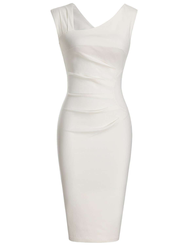 MUXXN Women's Pure Vintage Cut Out Neck Bodycon Cocktail Prom Dress (S White) by MUXXN