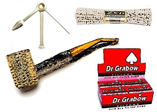 Missouri Meerschaum Legend Corn Cob Tobacco Pipe, Bent Bit + Dr. Grabow Pipe Filters - 12 Boxes of 10 Filters + Tobacco Pipe Reamer Tamper Pokers Tool + 1 Bundle ZEN Pipe Cleaners Hard Bristle - 44 -  Variety Deals