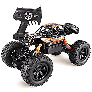 Wisleo RC Cars 1/16 Scale 2.4Ghz 4WD All Terrain Remote Control High Speed Vehicle Off Road Monster Truck RC Toys, Best Birthday Gift for Kids (Orange)