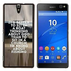 Caucho caso de Shell duro de la cubierta de accesorios de protección BY RAYDREAMMM - Sony Xperia C5 Ultra - pesca marinero dios cristiano divertido pasatiempo