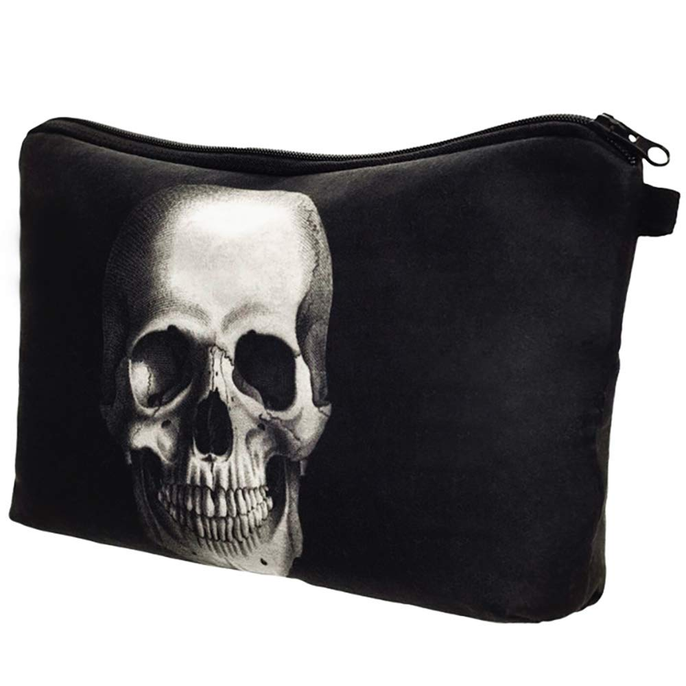 Cosmetic Makeup Bag, 3D Printing Skull Pattern Polyester Clutch Handbag Pencil Pen Case Travel Organizer Pouch, Black Kaimaily