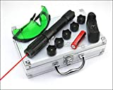 Shadowlasers RX6 High Power 650nm Adjustable Focus Presentation Pointers Red Lazer Beam Teach Torch LED Flashlight & 18650 Li Battery & US Charger & 5 Star Caps & Goggles & AL Case