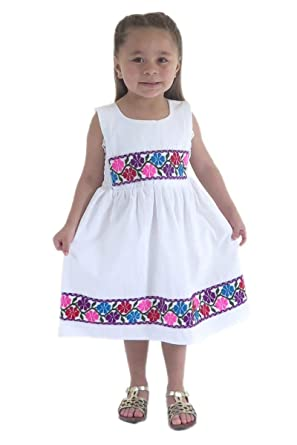 ac33469f7c9f Mexican Clothing Co Little Girls Mexican Dress Nahua Veracruz Manta CT 3T  White 1952