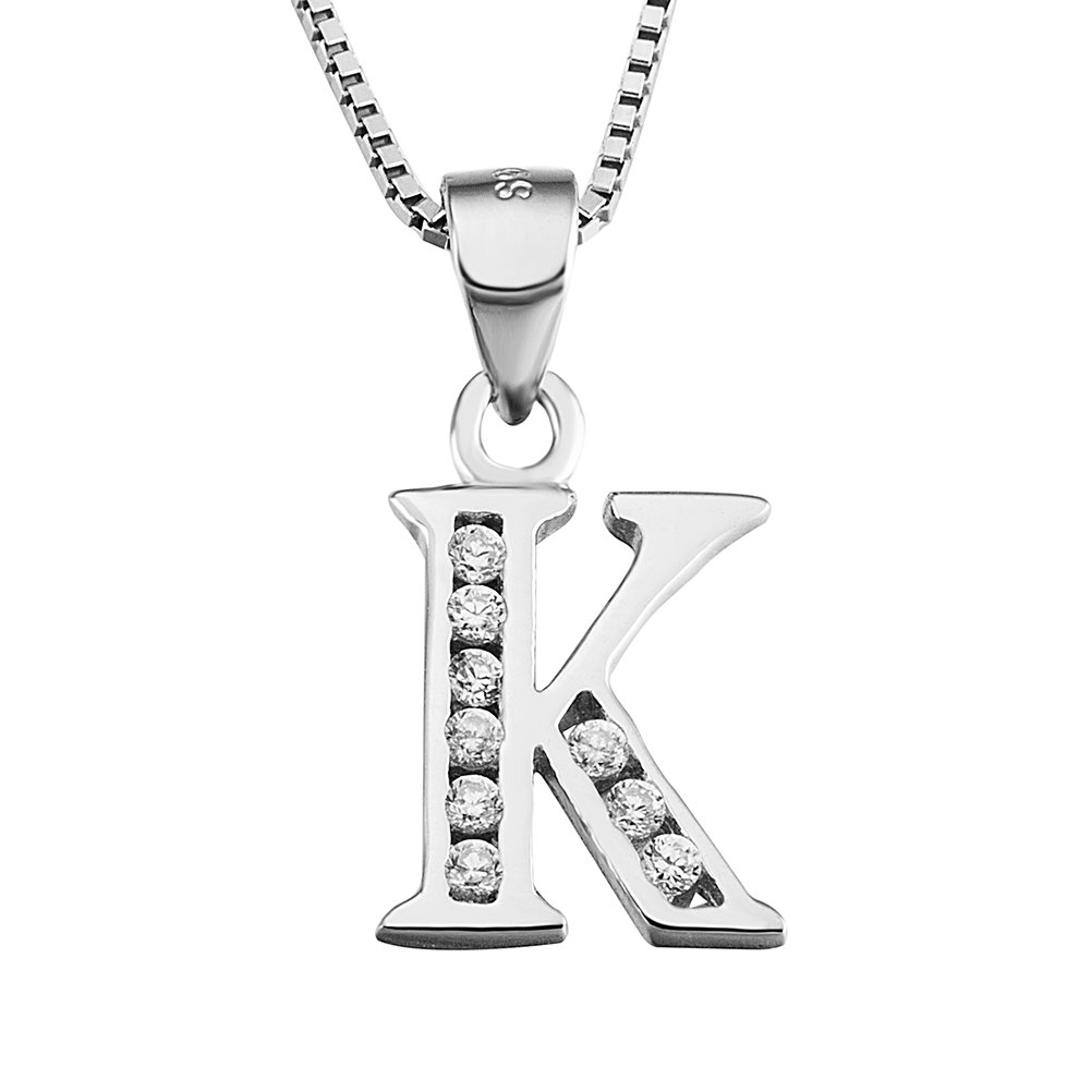 S925 Sterling Silver Cubic Zirconia 26 Letters Alphabet Personalized Charm Pendant Necklace (Alphabet K)