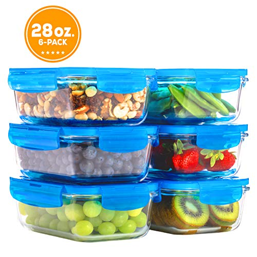 Elacra Glass Food Storage Containers [6-Pack, 28oz] - Glass Meal Prep Containers with Airtight and BPA-Free Locking Lids - 6 Glass Storage Containers & 6 Blue Lids (Matching Lid Tupperware)