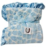 Max Daniel Baby Plush Print Baby Throw - Blue Giraffe