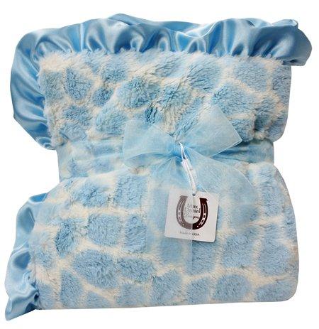 Max Daniel Baby Plush Print Baby Throw - Blue Giraffe by Max Daniel Designs
