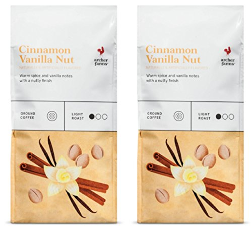 Archer Farms Ground Coffee Cinnamon Vanilla Nut Flavor Light Roast - 2 Bags x 12 Punce (Vanilla Cinnamon Coffee)