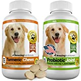 Amazing Combo Dog Turmeric and Probiotics for Dogs - Pure All-Natural Pet Antioxidant - Promotes Shiny Coat, Brain Health, Eliminates Diarrhea Gas and Joint Pain, 120 Tasty Chews x 2