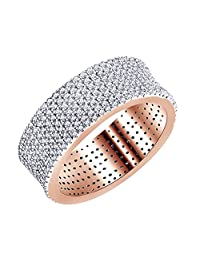 White Cubic Zirconia Eternity Band Ring In 14k Gold Over Sterling Silver