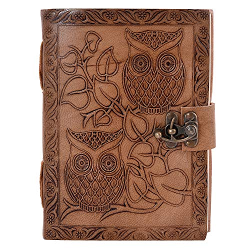 Owl Embossed Leather Journal, Antique Handmade Leather Bound Daily Notepad for Men & Women Unlined Handmade Paper 7 x 5 Inches, Handmade Traveler's Notebook, Perfect for Writing, Gifts, -