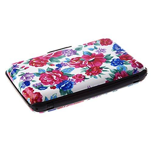 SODIAL (R) Farbe, Metall, Aluminium Identifikation-Kreditkarte-Kasten-Mappen-Halter-Kasten Geldbeutel-Tasche - grosse rote und weisse