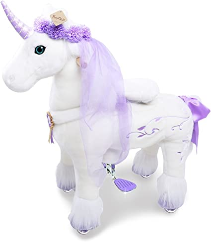 PonyCycle Official Riding Horse White and Purple Unicorn No Battery No Electricity Mechanical Giddy up Pony Plush Toy Walking Animal for Age 4-9 Years ...
