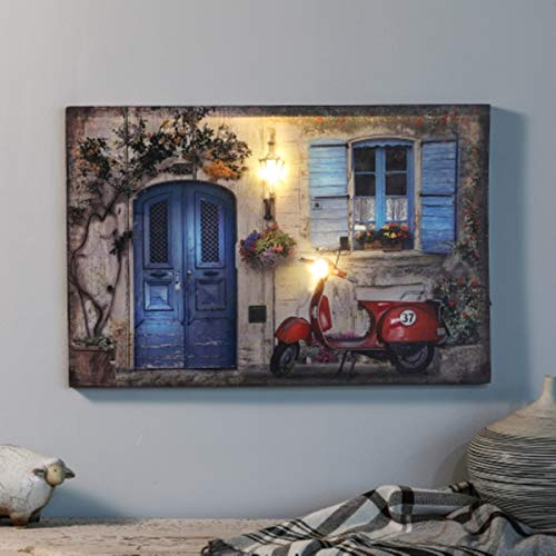 Winsome House Tuscan Cottage and Motorbike Print with LED Lights