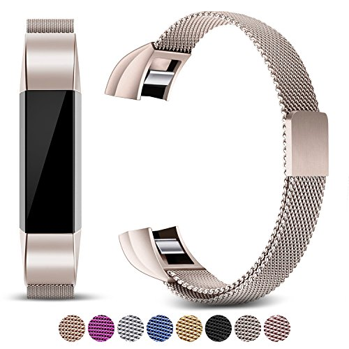 Black Mesh Sport Armband ([Updated Solid Version] For Fitbit Alta and Alta HR Magnetic Bands, Konikit Band Milanese Loop Stainless Steel Metal Replacement Bracelet Strap, Wristbands Accessories for Women Men (Champagne))