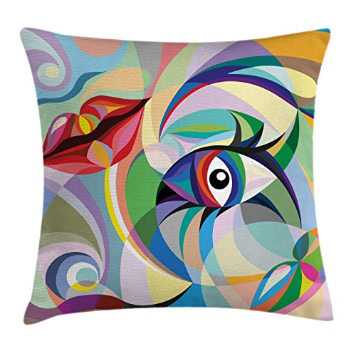 """Ambesonne Modern Throw Pillow Cushion Cover, Painting Style Image Lips and and Eyes with Waves and Floral Leaf Like Art Design, Decorative Square Accent Pillow Case, 16"""" X 16"""", Lavender"""