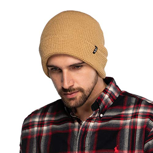 (C.C Hat Unisex Soft Stretch Knit Beanie with Reversible (HTM-7)(Camel, Waffle)