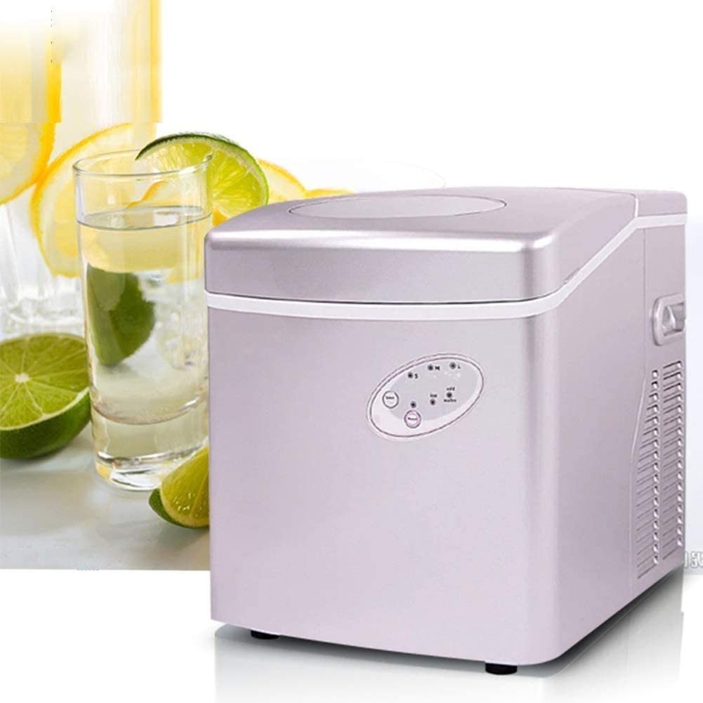 Ice Maker Machine Counter Top Home, Making Bullet Ice Cubes, ABS Stainless Steel Ice Cube Machine, Ready in 6 Mins
