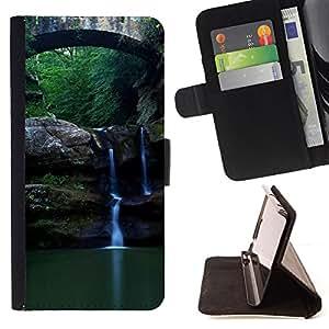 BullDog Case - FOR/Apple Iphone 6 PLUS 5.5 / - / Nature Beautiful Forrest Green 89 /- Monedero de cuero de la PU Llevar cubierta de la caja con el ID Credit Card Slots Flip funda de cuer