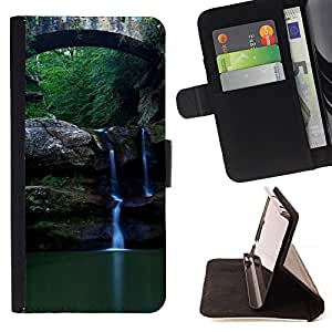 BullDog Case - FOR/Samsung Galaxy S3 Mini I8190Samsung Galaxy S3 Mini I8190 / - / Nature Beautiful Forrest Green 89 /- Monedero de cuero de la PU Llevar cubierta de la caja con el ID Credit Card Slots Flip funda de cuer
