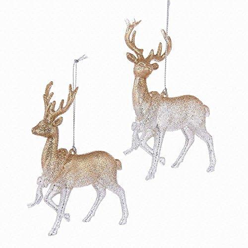 Christmas Ornament Deer (Kurt Adler YAMT1951 Rose Gold Deer Ornament Set)