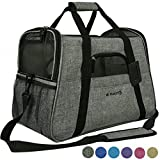 Mr. Peanut's Airline Approved Soft Sided Pet Carrier, Two-Tone Luxury Travel Tote with Fleece Bedding, New Design, Under Seat Collapsibility, Perfect for Cats and Small Dogs (Platinum Gray)