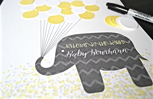 Yellow and Grey Elephant Neutral Baby Shower Party Decor - Guests Can Create a Keepsake for Mommy to Be!