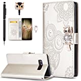 Galaxy Note 8 Case,Galaxy Note 8 Cover,ikasus Bling Diamonds Glitter Embossing Mandala Owl PU Leather Fold Wallet Flip Stand Protective Case Cover + Dust Plug & Stylus for Samsung Galaxy Note 8