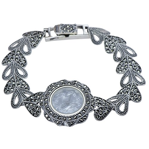 Marcasite Stone Ladies Watch 925 Sterling Silver Jewelry - Women's Wristwatch - Sterling Marcasite Watch