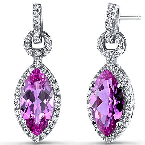 Created Pink Sapphire Marquise Dangle Drop Earrings Sterling Silver 4.5 Carats