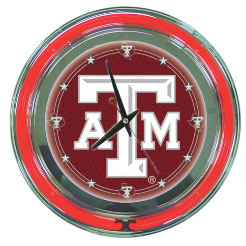 Trademark Gameroom NCAA Texas A&M University Chrome Double Ring Neon Clock, 14