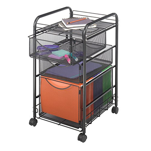 Safco Onyx Mesh File Cart, 3 Drawer, 15-3/4 x 17 x 27 inches, Black by Safco
