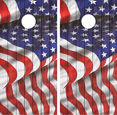avgrafx 3M Cornhole Wrap Decal Distressed Wood Waving Flag Laminated