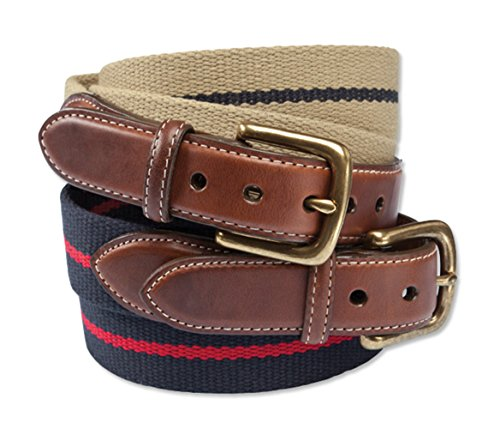 Orvis Cotton And Leather Surcingle Belt, Navy, 34
