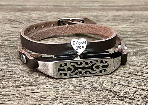 Dark Brown Leather Bracelet For Fitbit Flex 2 Tracker Handmade Double Wrap Adjustable Strap Fitbit Flex 2 Band Silver Jewelry Holder I Love You Heart Shaped Charm Women Fashion Accessory ()