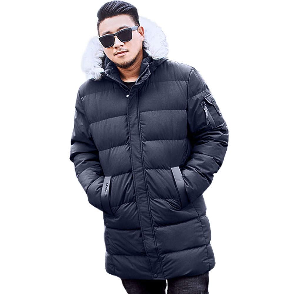 WOCACHI Mens Plus Size Down Jackets Long Coat Parka Detachable Hooded Outerwear WOCACHI-181012