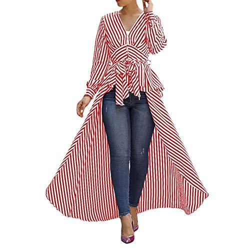 Viloong Women's High Low Asymmetrical Long Sleeve Stripe Dress Shirt with Belt (red White Stripe, XL)