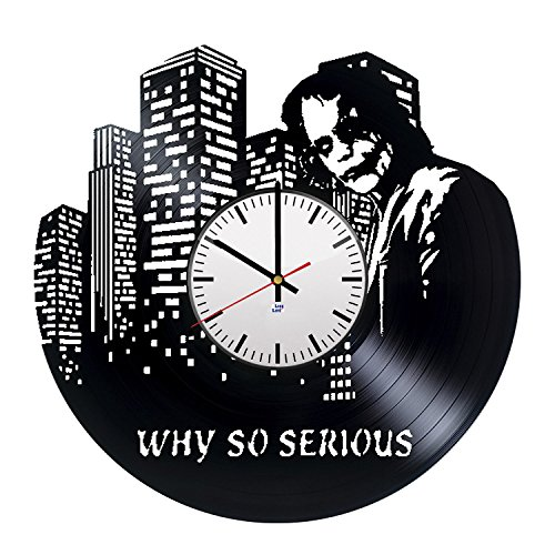 Modern Vinyl Record Wall Clock With Joker Suicide Squad Design - Unique Bedoom Wall Decor - Original Gift Idea For His or Her - Exclusive Superhero Fan (Joker Bank Robber Mask)