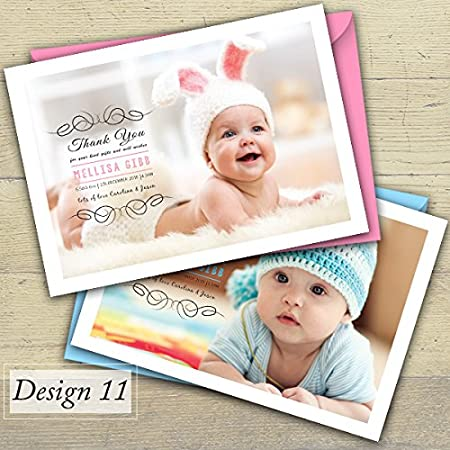 Baby Thank You Cards 3. Design 3, 50 Girl or Boy Personalised Birth Announcement