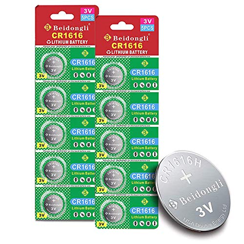 Beidongli CR1616 Battery 3V Lithium Battery Coin Button Cell 10 Pack 【5-Year Warranty】