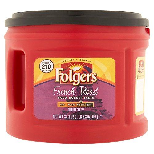 Folgers French Medium Dark Roast Ground Coffee, 24.2 oz (Pack of 4)