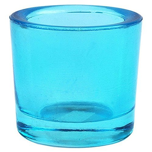 Bluecorn Beeswax Heavy Glass Votive and Tea Light Candle Holders (1, Aqua)