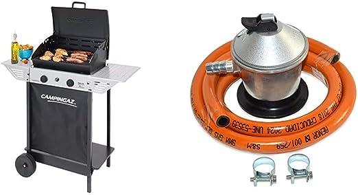 Campingaz Xpert 100 L Barbacoa gas, parrilla gas con dos quemadores compactos + S&M 321771 Regulador de Gas Butano Goma M + 2 Abraz, Gris/Naranja, 1,5 ...