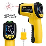 URCERI Infrared Thermometer Digital IR Temperature Gun (-58¨H to 1076¨H) with Food Thermometer Automatic Power-Off Mode Accurate Results Humidity Tester for Cooking Automotive Industrial Use