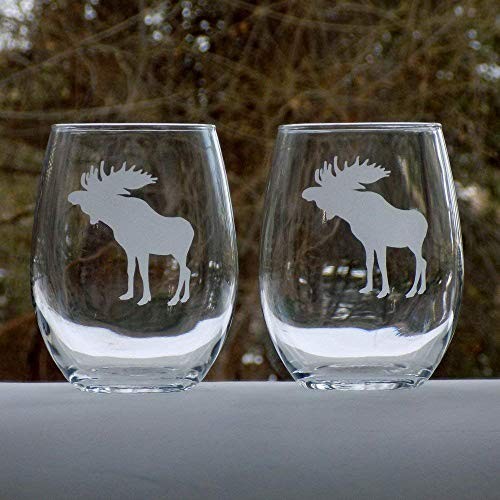 Moose Glasses Set, Rustic Cabin Decor for the Home, Set of 20oz Etched Wine Glasses ()