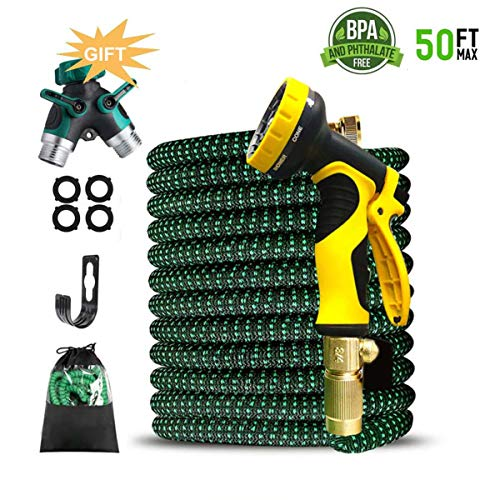 50ft Garden Hose, Expandable Water Hose 3/4″ Solid Brass Connectors Fittings 9 Pattern Spray Nozzle, Outdoor Flexible Expanding Hose with Extra Gift 2 Way Y Garden Hose Splitter -1 Years Warranty