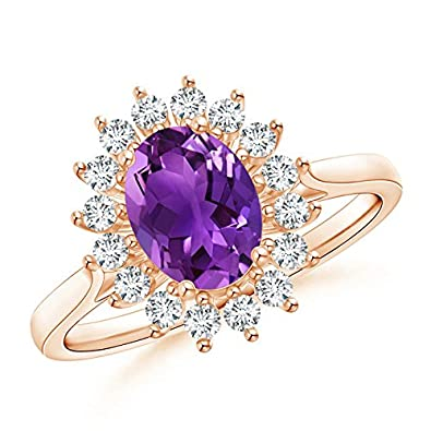 Angara Oval Amethyst and Diamond Floral Vintage Ring in Yellow Gold dtDi4MHXs7