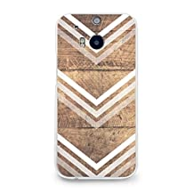 Hard Plastic Case for HTC One M8, CasesByLorraine Wood Print Chevron Arrow PC Case Plastic Cover for HTC One M8 2014 (G10)